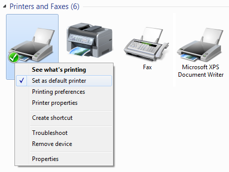 default printer