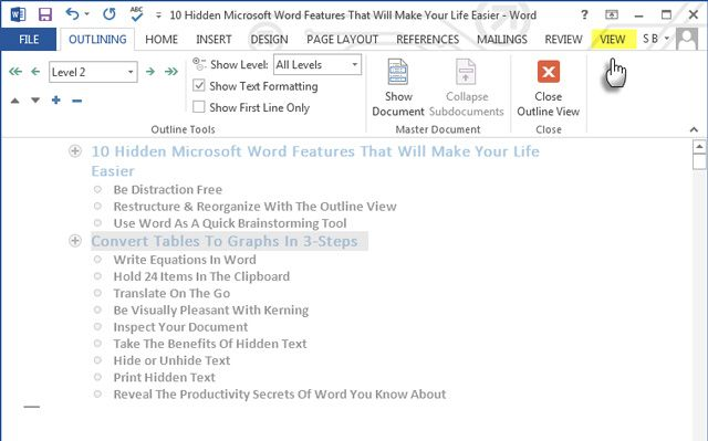 Using the Outline View in MS Word