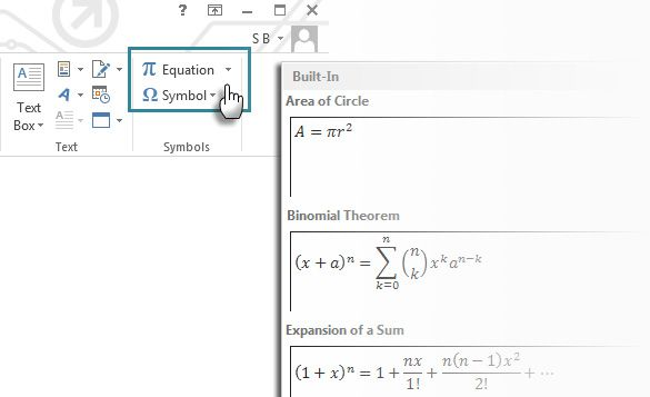Microsoft Word -- Equation Editor