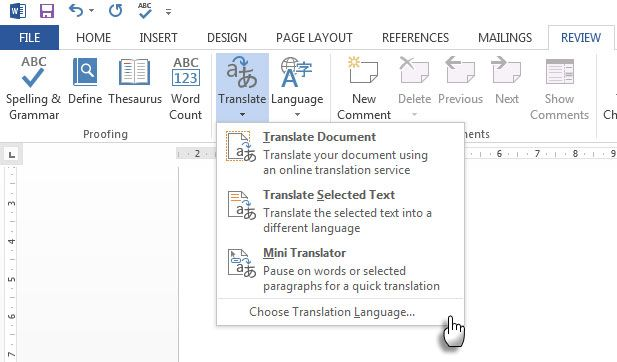 Translate with Word 2013