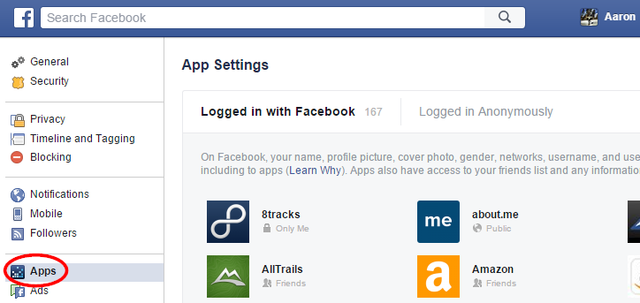 3.3 Facebook - Settings - Apps