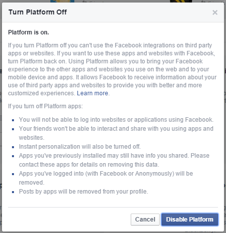 3.5 Facebook - Settings - Apps - Settings - Turn Platform off