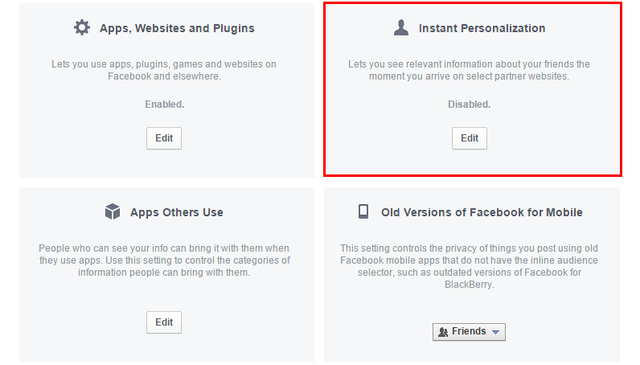 4.1 Facebook - Settings - Apps - Settings