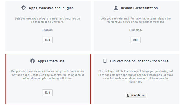 5.1 Facebook - Settings - Apps - Settings
