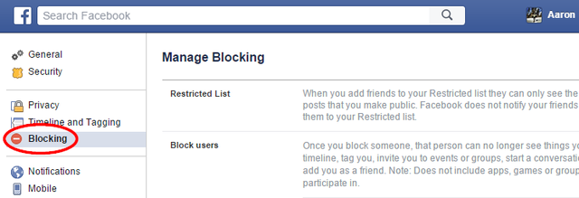 8.1 Facebook - Settings - Blocking