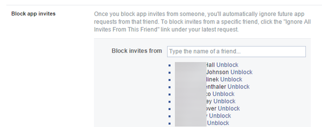 8.2 Facebook - Settings - Blocking - Invites from friends