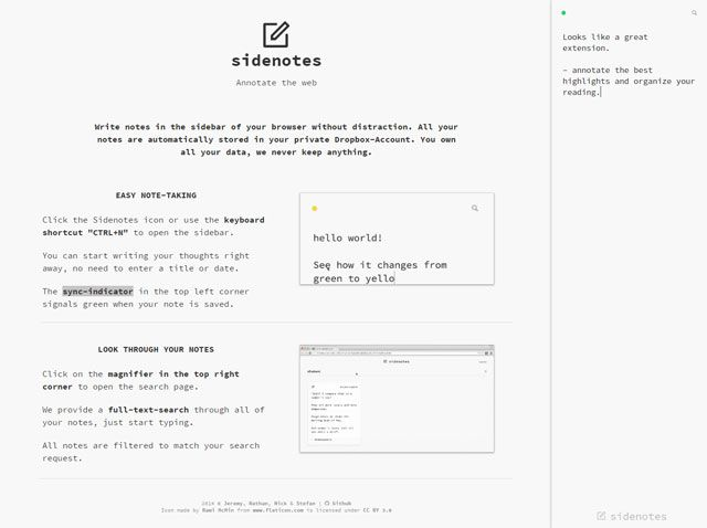 Notetaking Chrome Extension - Sidenotes