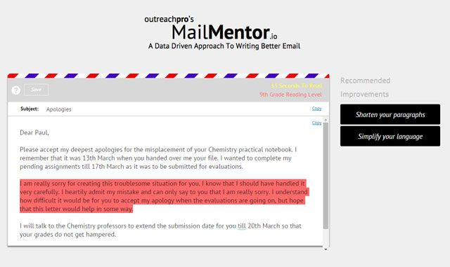 Write Better Emails -- MailMentor