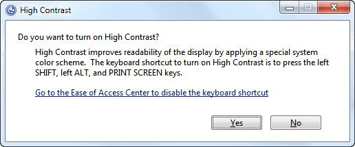 Turn on high contrast confirmation window