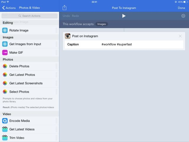 How To Create Your Own Extensions For Your iPhone & iPad workflow iOS post to instagram