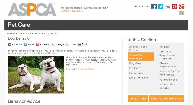 ASPCA pet behaviorist site