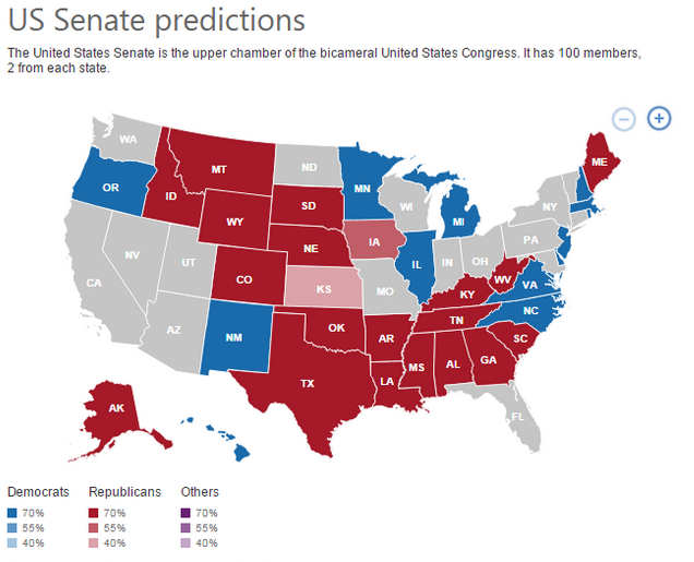 Bing US Senate Predictions
