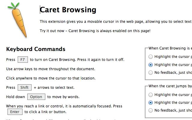 Caret Browsing