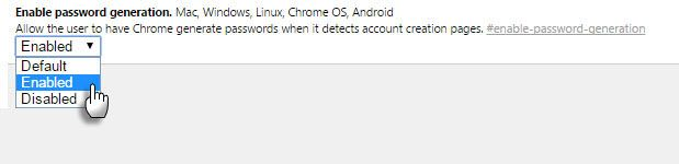 Enable Chrome Password