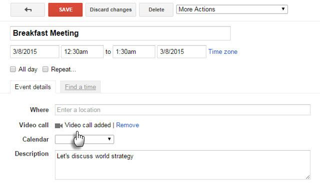Add Video Call to Google Calendar
