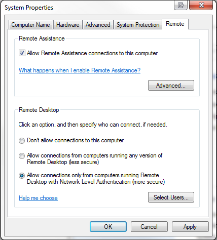 Remote Desktop Allow Connections