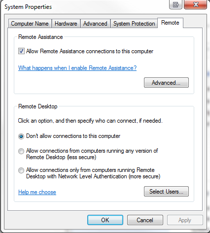 Remote Desktop Allow