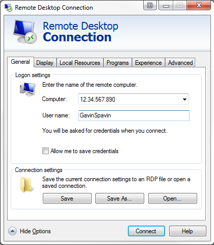 Remote Desktop IP address