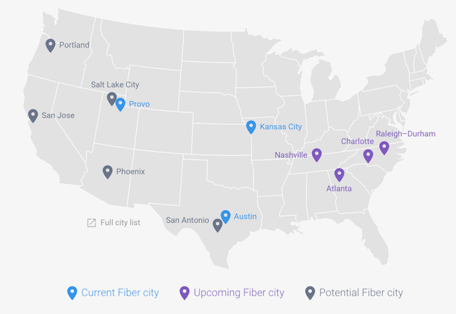 "A map of current and upcoming US cities with ""Fiber to Home"" from Google"