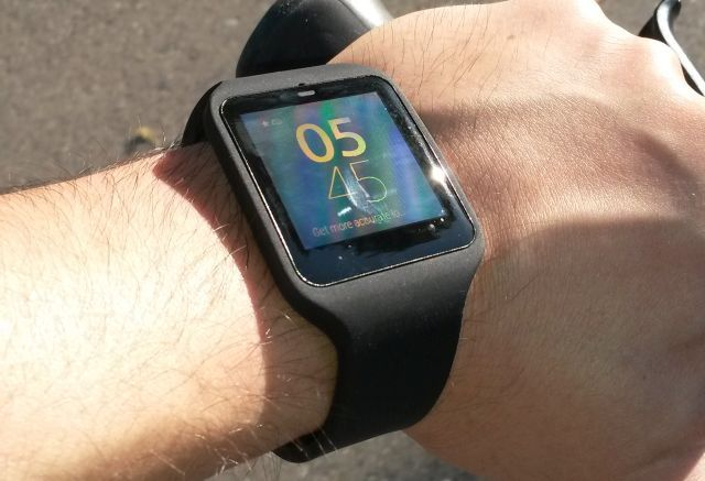 sony smartwatch 3 on a bike