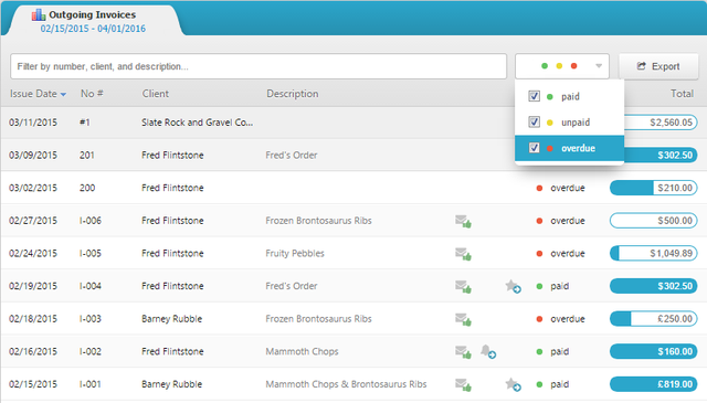 1 Invoicebus - outgoing invoices dashboard
