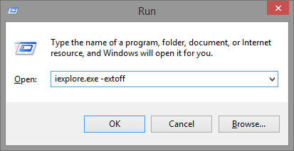 5.2 Run - iexplore.exe -extoff