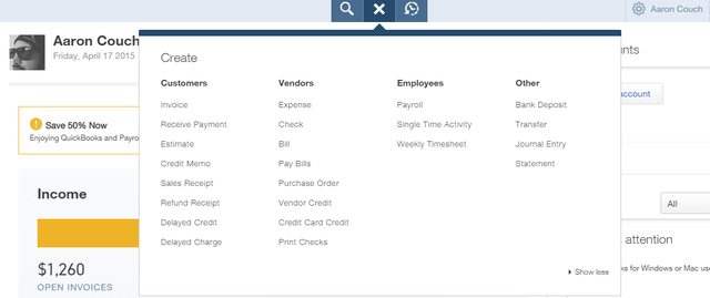 7 QuickBooks Online - top bar quick links