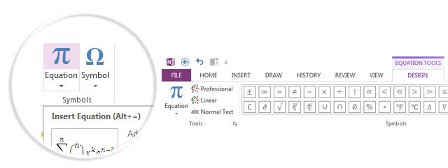 Insert Equations in OneNote
