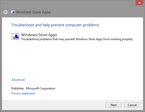 1 Window Apps Troubleshooter