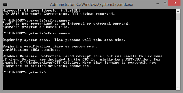 5 Cmd prompt scannow