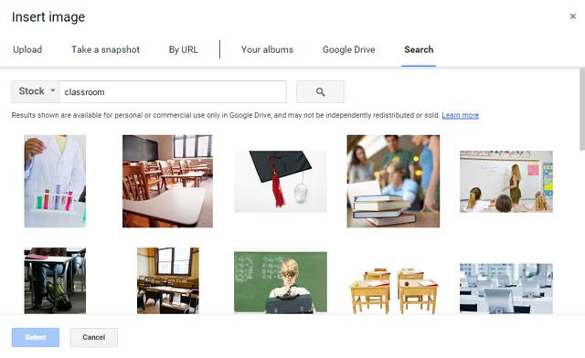 Google Docs -- Search Stock Images
