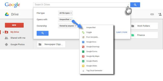 Google Docs Search Options