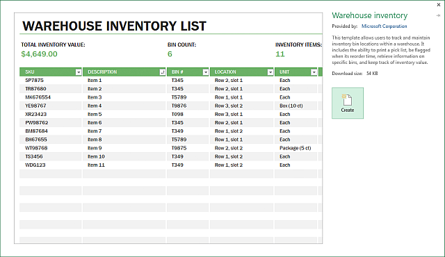 plant inventory spreadsheet