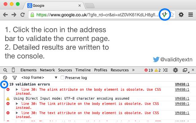 chrome-webdev-validity