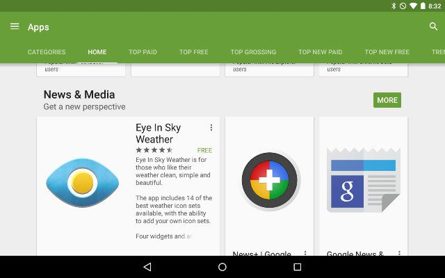 AndroidGooglePlay-App-Sections