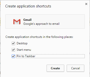 Application Shortcut Gmail