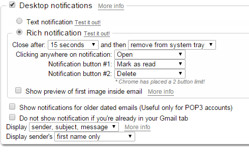 Checker Plus Gmail Settings