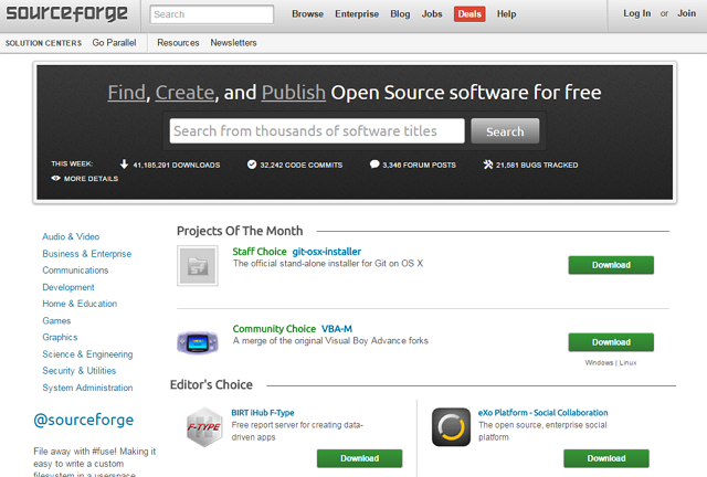 Slashdot-Sourceforge-homepage