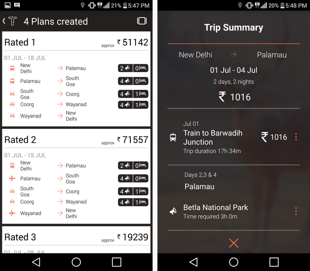vacation trip planner app