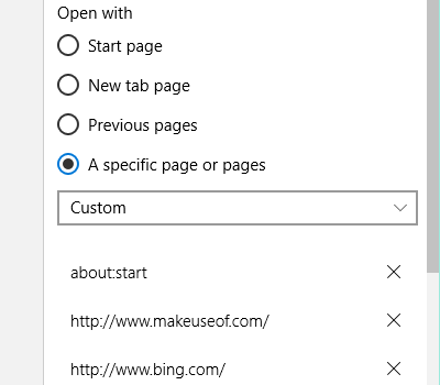Edge Start Pages