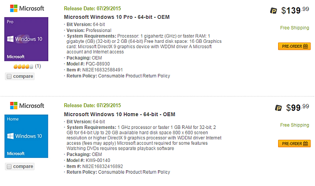 Newegg Windows 10 Leak 1