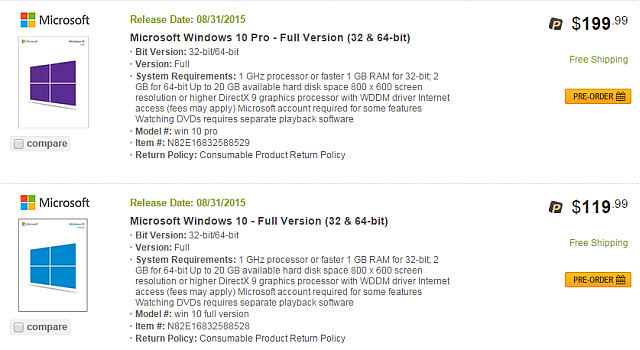 Newegg Windows 10 Leak 2