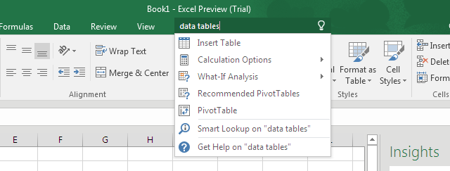 Tell Me Bar Office 2016 Excel 2