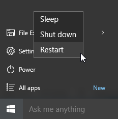 windows 10 restart