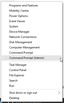 Windows 10 Start Option