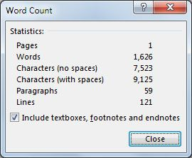 Word 2013 Word Count