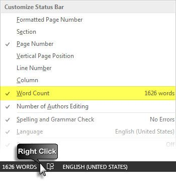 how to see word count on keynote