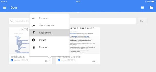 ipad google docs edit offline