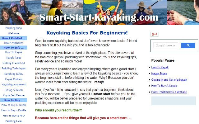 smart start kayaking site
