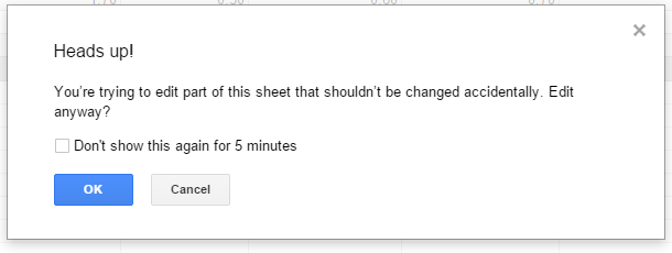 Google Sheets Warning